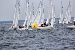Crowded windward mark. Photo Credit Stu Johnstone.