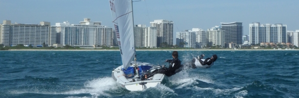 Planing Upwind in the Ocean off Miami Beach. Photo credit Mike Marshall.